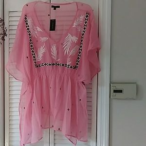 Ladies sheer pink top